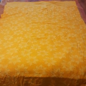 "Vintage Bright Yellow 43"" X 68"" Floral Skirt|Sari"